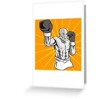 Boxer Boxing Knockout Punch Retro Greeting Card