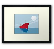 Container Ship Cargo Boat Retro Framed Print