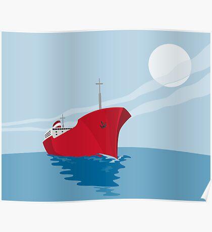 Container Ship Cargo Boat Retro Poster
