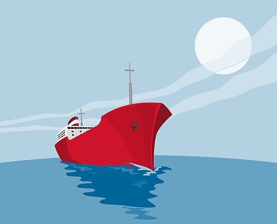 Container Ship Cargo Boat Retro by patrimonio