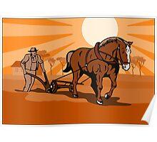Farmer and Horse Plowing Farm Retro Poster