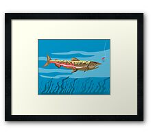 Trout Fish Retro Framed Print