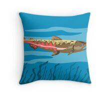 Trout Fish Retro Throw Pillow