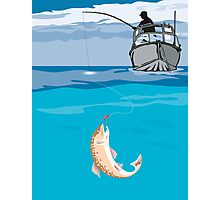 Fisherman Fishing Trout Fish Retro Photographic Print