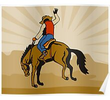 Rodeo Cowboy Riding Bucking Bronco Horse Poster