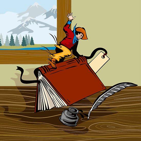 Rodeo Cowboy Riding Book Retro by patrimonio