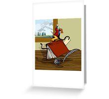 Rodeo Cowboy Riding Book Retro Greeting Card
