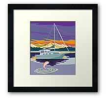 Sailboat Retro Framed Print