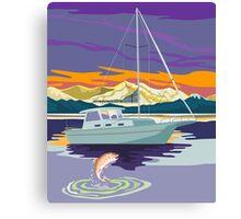 Sailboat Retro Canvas Print