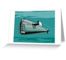 Submarine Boat Retro Greeting Card