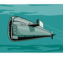 Submarine Boat Retro Photographic Print
