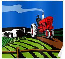 Vintage Tractor Retro Poster