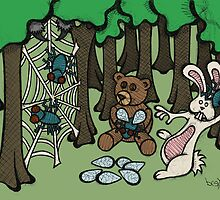 Teddy Bear And Bunny - Having Fun by Brett Gilbert