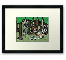 Teddy Bear And Bunny - Having Fun Framed Print