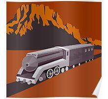 Steam Train Locomotive Retro Poster