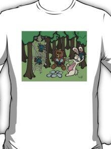 Teddy Bear And Bunny - Having Fun T-Shirt