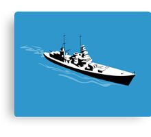 World War Two Battleship Warship Cruiser Retro Canvas Print