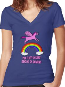 Pink Fluffy Unicorns Dancing On Rainbows Women's Fitted V-Neck T-Shirt