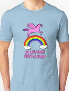 Pink Fluffy Unicorns Dancing On Rainbows Unisex T-Shirt