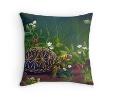 Florida Box Turtle, Strawberries and Blooms Throw Pillow