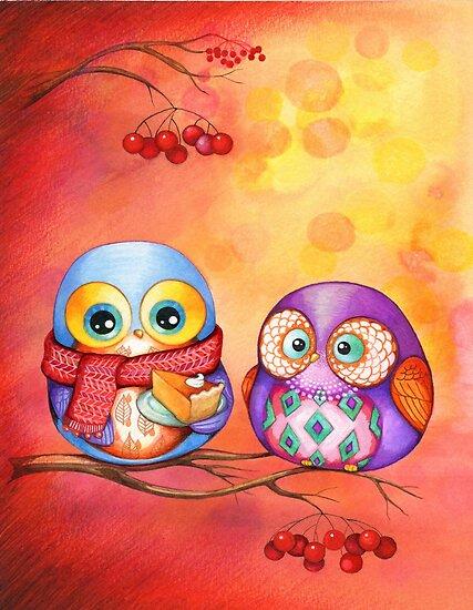 Thanksgiving Owls with Pumpkin Pie by Annya Kai