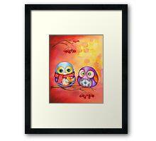 Thanksgiving Owls with Pumpkin Pie Framed Print