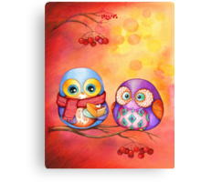 Thanksgiving Owls with Pumpkin Pie Canvas Print