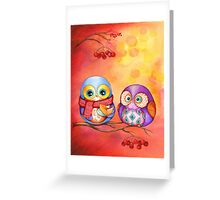 Thanksgiving Owls with Pumpkin Pie Greeting Card