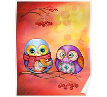 Thanksgiving Owls with Pumpkin Pie Poster