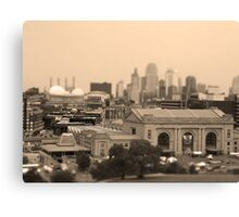 Union Station, Downtown Sky Scrapers, Kansas City Tilt Shift, Sepia Canvas Print