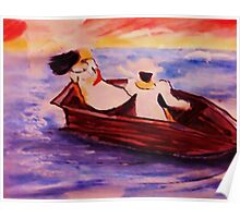 2 women on a boat, watercolor Poster