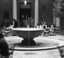 Fountain in Nelson Atkins Museum, Black and White by PhotosByTrish