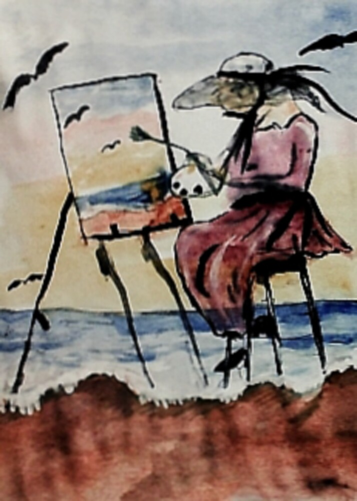 The plein air artist, watercolor by Anna  Lewis, blind artist