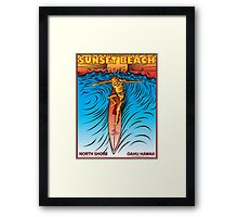 SUNSET BEACH OAHU HAWAII Framed Print