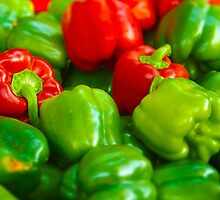 Green and Red Bell Peppers Tilt Shift by PhotosByTrish