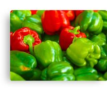 Green and Red Bell Peppers Tilt Shift Canvas Print