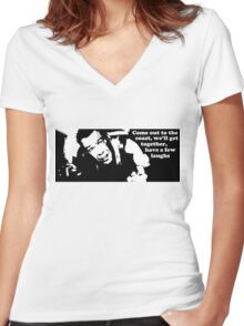 Die Hard: Come out to the coast... Women's Fitted V-Neck T-Shirt