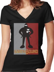 Earthbound Starman obey Women's Fitted V-Neck T-Shirt