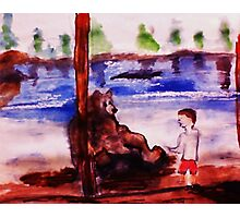 Mom, he is way too close, watercolor Photographic Print