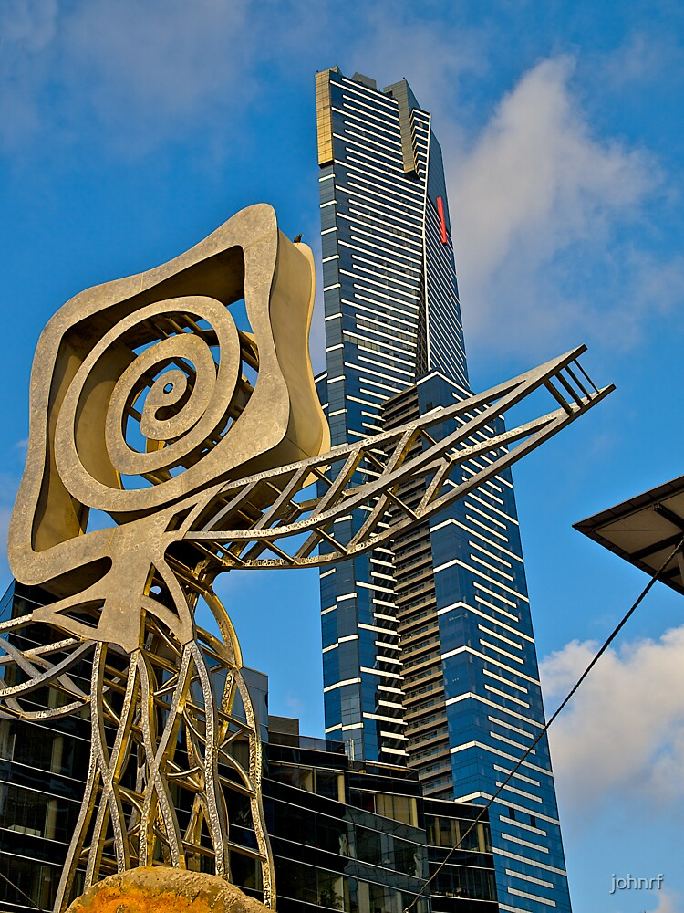 Plaza Sculpture and the Eureka  Tower, Melbourne. by johnrf