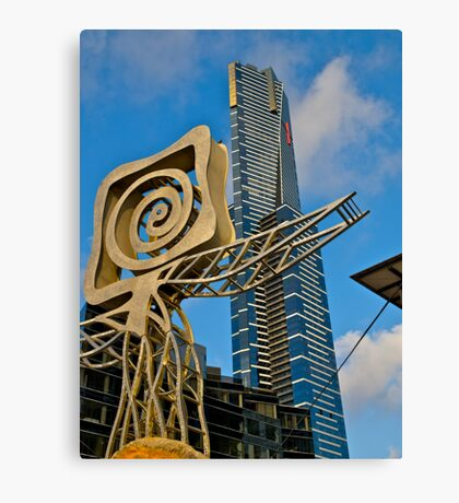 Plaza Sculpture and the Eureka  Tower, Melbourne. Canvas Print