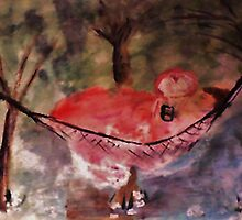 In her hammock reading, watercolor by Anna  Lewis