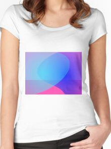 Blue Purple and Pink Minimalism Lake Women's Fitted Scoop T-Shirt