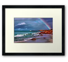 Rainbow at the Beach Framed Print
