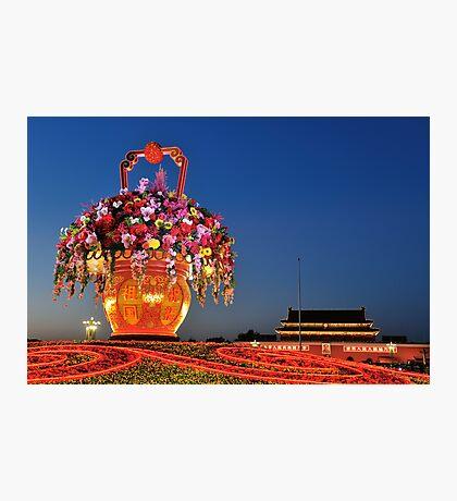 Tiananmen Flowers Photographic Print