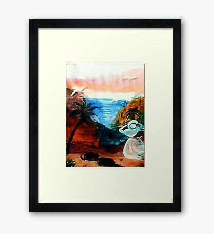 Watching for lover to return, watercolor Framed Print