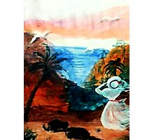 Watching for lover to return, watercolor Photographic Print
