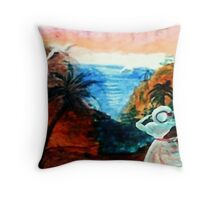 Watching for lover to return, watercolor Throw Pillow