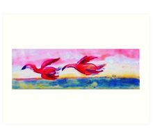 Flying together, watercolor Art Print