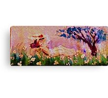 Girl amonst flowers panel, watercolor Canvas Print